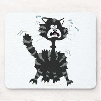 Funny Scared Black Cat Cartoon Halloween Mouse Pad