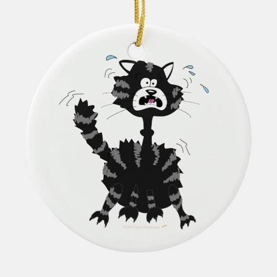 Funny Scared Black Cat Cartoon Halloween Ornament