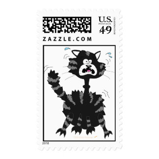 Funny Scared Black Cat Cartoon Halloween Postage