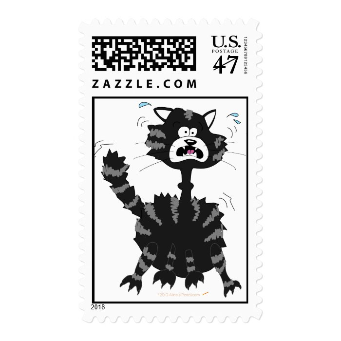 Funny Scared Black Cat Cartoon Halloween Postage Stamp