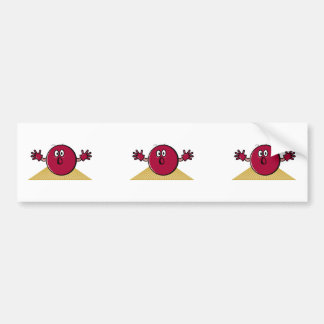 funny scared bowling ball going down alley cartoon car bumper sticker