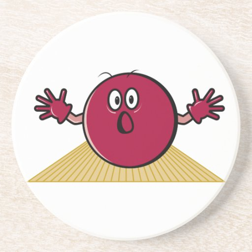 funny scared bowling ball going down alley cartoon beverage coaster