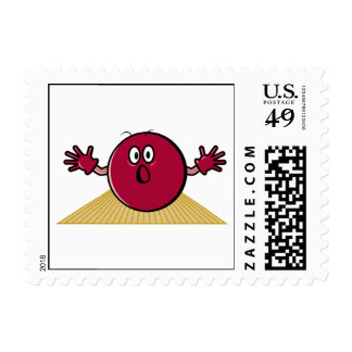 funny scared bowling ball going down alley cartoon postage stamp