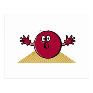 funny scared bowling ball going down alley cartoon postcard