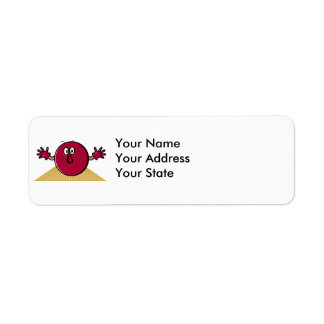 funny scared bowling ball going down alley cartoon return address label