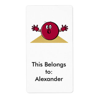 funny scared bowling ball going down alley cartoon shipping label