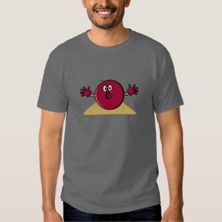 funny scared bowling ball going down alley cartoon shirt