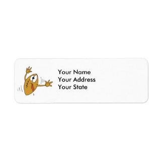 funny scared cartoon football character return address label