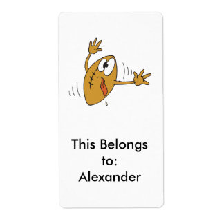 funny scared cartoon football character shipping label