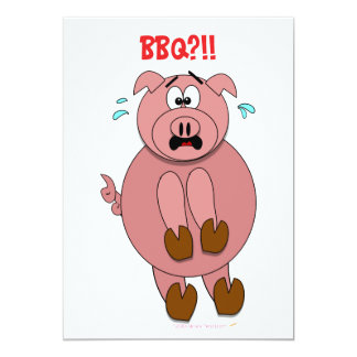 Funny Scared Cartoon Pig BBQ Party Invitations