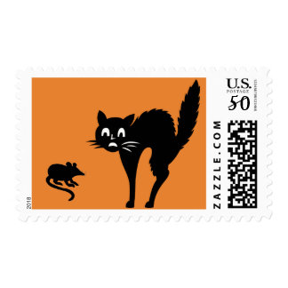 Funny Scared Kitty Cat Rat Halloween Postage Stamp