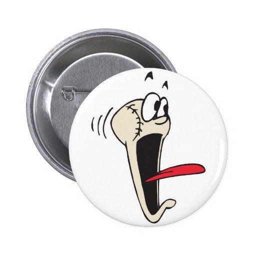 funny scared screamer cartoon baseball 2 inch round button