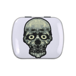 Funny Scared Skull Artwork Candy Tins