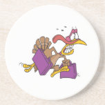 funny scared turkey on the run beverage coasters