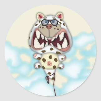 Funny Scared White Cat Balloon With Glasses Classic Round Sticker