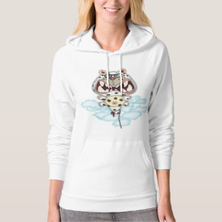 Funny Scared White Cat Balloon With Glasses Hoodie