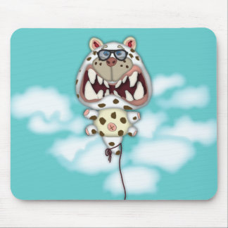Funny Scared White Cat Balloon With Glasses Mouse Pad