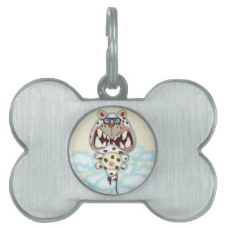 Funny Scared White Cat Balloon With Glasses Pet ID Tags