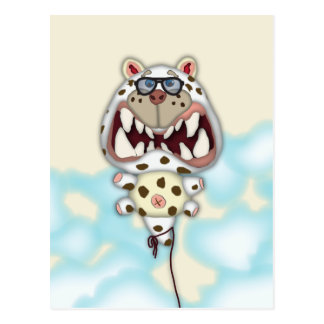 Funny Scared White Cat Balloon With Glasses Postcard