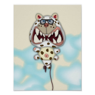 Funny Scared White Cat Balloon With Glasses Poster