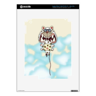 Funny Scared White Cat Balloon With Glasses iPad 3 Skin