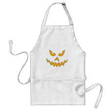 Funny Scary Pumpkin Face Cartoon for Halloween Adult Apron