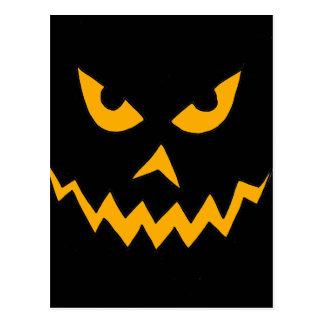 Funny Scary Pumpkin Face Cartoon for Halloween Postcard