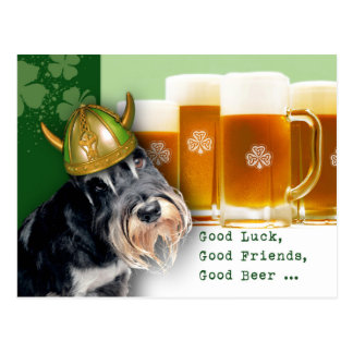 Funny Schnauzer.Custom St. Patrick's Day Postcards