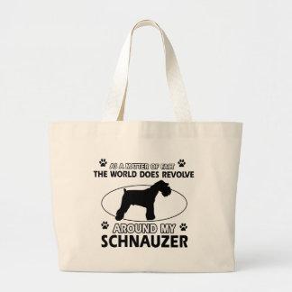funny SCHNAUZER designs Large Tote Bag