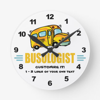 Funny School Bus Round Clock
