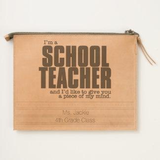 Funny School Teacher Custom Text Travel Pouch