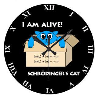Funny Schrodinger's Cat Is Alive Quantum Mechanics Large Clock