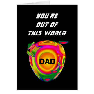Funny Sci Fi Happy Birthday DAD with Planet A02 Card