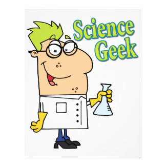 funny science geek cartoon character flyer