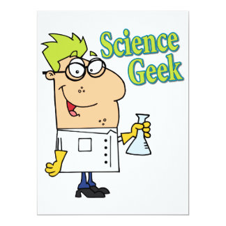 funny science geek cartoon character 6.5x8.75 paper invitation card