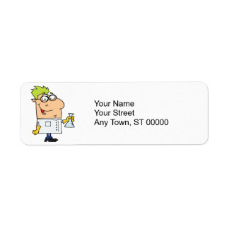 funny science nerd cartoon character label