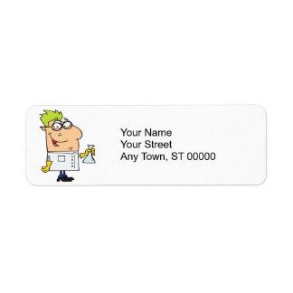 funny science nerd cartoon character return address label