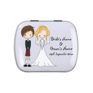 Funny Scottish Bride n Groom Cartoon Wedding Favor Jelly Belly Candy Tins