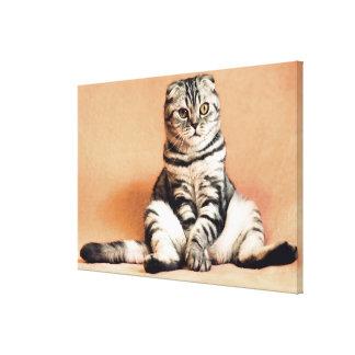 Funny scottish-fold - paws OFF Canvas Print