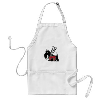 Funny Scottish Terrier puppy dog Playing Bagpipes Adult Apron