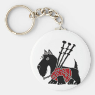 Funny Scottish Terrier puppy dog Playing Bagpipes Keychain
