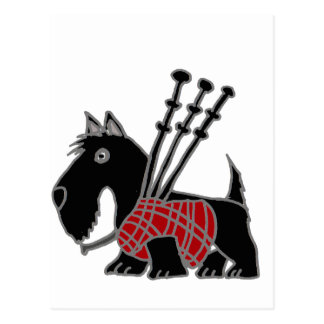Funny Scottish Terrier puppy dog Playing Bagpipes Postcard