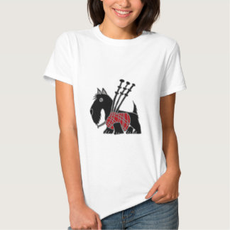 Funny Scottish Terrier puppy dog Playing Bagpipes T Shirt