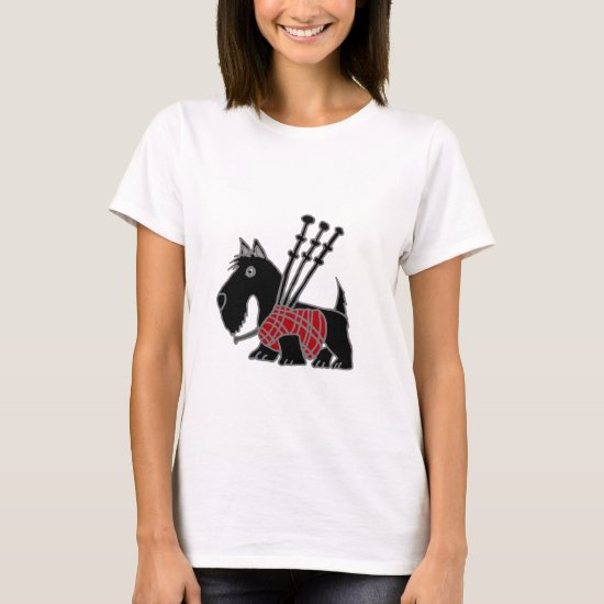 Funny Scottish Terrier puppy dog Playing Bagpipes T-Shirt