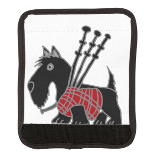 Funny Scotty Dog Playing Bagpipes Luggage Handle Wrap