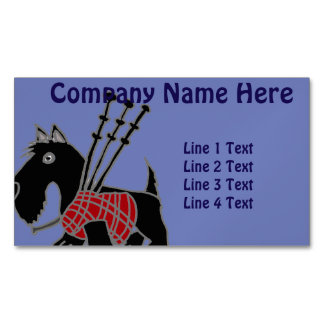 Funny Scotty Dog with Bagpipes Business Card Magnet