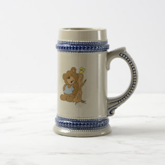 Funny Scratching Back Bear and Bird Beer Stein