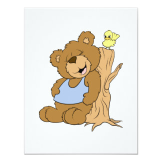 Funny Scratching Back Bear and Bird Personalized Invitation