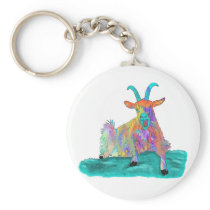 Funny Screaming Goat Animal Art Painting Design Keychain
