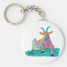 Funny Screaming Goat Animal Art Painting Design Keychain at Zazzle